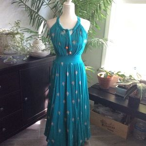 Anthropologie Embroidered Teal Cotton Maxi Dress